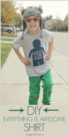 Simply Made: DIY Everything Is Awesome Lego Movie T Shirt. Comes with a free template to use!
