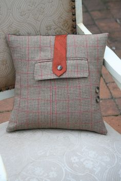 Robin McKie Wore A Tie - Houndstooth and Necktie - Recycled Suit Jacket PILLOW COVER - 14 Inch