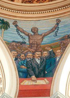A consecuencia de la proclama de la abolición de la esclavitud en Puerto Rico el 22 de marzo del 1873, aproximadamente 30,000 esclavos se convirtieron en personas libres. Pintura del Capitolio de Puerto Rico.