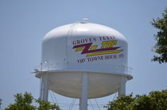 Where is ZZ Top water tower? and visit our neighbor, Groves, Texas. Mary Meaux photo for Port Arthur News Port Arthur Texas, Texas Texans, Stuff To Do, Things To Do, Zz Top, Golden Triangle, Janis Joplin, Buddhist Temple, Water Tower