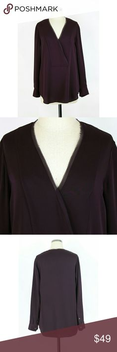 """Theory silk tunic blouse Size Large. Theory silk tunic blouse in deep plum. V neckline. Long sleeves. Long length styling. Features a raw mesh trim at neckline for an added touch of edge!  100% silk. Like new condition with no flaws. Very nice!  Approximate measurements Bust 42"""" Length 30.5"""". Theory Tops Blouses"""