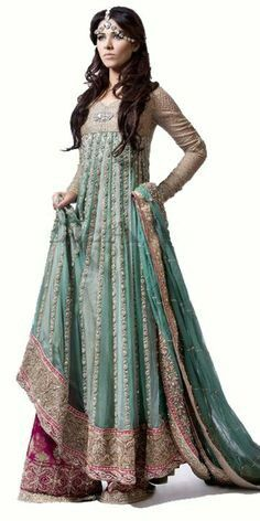 Turquoise green anarkali teamed up with pink sharara