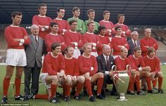 Matt Busby, Bobby Charlton and George Best can be seen after their heroic European Cup win over Benfica in 1968