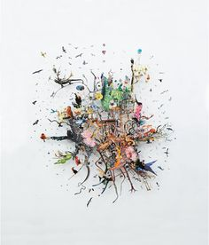 Artist Peter Madden splices tiny elements to create large collages that are a dizzying combination of imagery. Using pictures extracted from encyclopedias, National Geographic magazines, and found photographs, he arranges all of the disparate pieces to form detailed compositions. The large groups are suspended on a transparent background, as if they are capture a moment in time before everything falls apart.