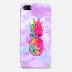 Bright Neon Hawaiian Pinapple Tropical Watercolor iPhone & iPod case by Girly Trend | Casetagram