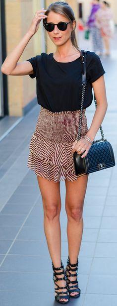 Veja Du Printed Silk Skirt Outfit Idea