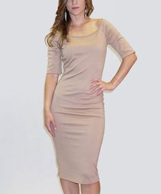 Loving this Khaki Midi Bodycon Dress on #zulily! #zulilyfinds