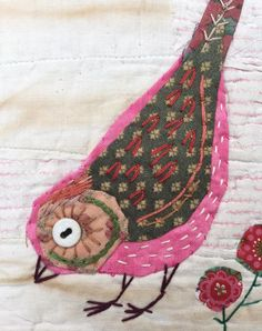 Unframed appliqued bird with embroidery on to vintage quilt fragment Bird Applique, Wool Applique, Embroidery Applique, Embroidery Stitches, Embroidery Patterns, Machine Embroidery, Fabric Birds, Fabric Art, Fabric Scraps