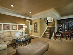 See how a finished basement uses subtle flourishes to hint at a Western style on HGTV.com.