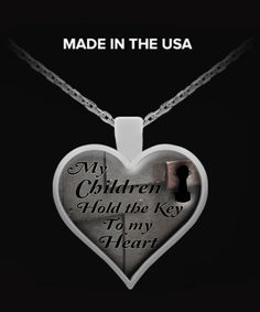 """""""My Children Hold the Key to my Heart"""" **Heart Shaped Necklace / Pendant.  **Use your pendant as a charm, Attach it to your key chain, wallet, purse, hang it on your rear view mirror. There are endless possibilities for showing off your pendant."""