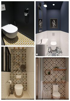 carreaux de ciment decoration wc Modern Toilet Paper Holders, Toilet Paper Holder Stand, Small Toilet Room, Guest Toilet, Bathroom Design Layout, Bathroom Design Small, Wc Decoration, Atlanta Homes, Downstairs Bathroom