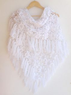 shawl scarf white wedding wrap ,crochet women shawl wrap ,bridal scarf Scarves ,spring scarf , fall fashion on Etsy, 75,00 $