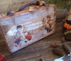 "Купить Чемодан ""Зима в Лисьем Лесу"" - чемоданчик, чемодан, ретро, ретро стиль, винтаж"
