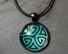 Vintage Celtique Or//Vert Arbre de Vie Verre Cabochon Bronze Chaîne Collier