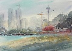 "Seattle Skyline by Carolyn Zbavitel Watercolor ~ 10 x 13.5-Cityscape, Seattle, Fine Art Watercolor Painting ""SEATTLE SKYLINE"" by Artist Carolyn Zbavitel"