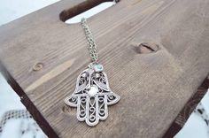 Hamsa Elephant & Evil Eye Long Chain Necklace by WildLivesShop