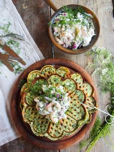 Crispy spinach and dill waffles with smoked prawns