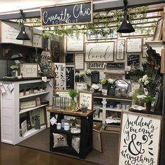Restocked our space If you're nearby, stop by and see what's new! Vintage Booth Display, Antique Booth Displays, Antique Booth Ideas, Craft Booth Displays, Booth Decor, Display Ideas, Retail Displays, Vintage Store Displays, Antique Mall Booth