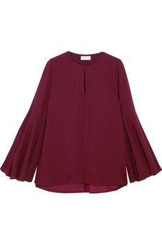 Burgundy crepe Button fastenings through front 97% polyester, 3% elastane Dry clean Imported