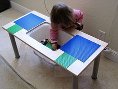 lego table from ikea kitchen cabinet door. perfect for two little boys to share.