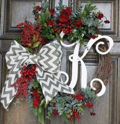 rustic-christmas-wreath I like the monogram idea