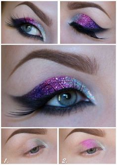 DIY Glitter Eye Makeup Tutorial from Sandra Holmbom here. (True Blue Me and You: DIYs for Creatives) DIY Glitter Eye Makeup Tutorial from Sandra Holmbom here. Galaxy Makeup, Glitter Eye Makeup, Galaxy Eyeshadow, Glitter Lips, Rave Eye Makeup, Mermaid Eye Makeup, Glitter Eyeshadow Tutorial, Glittery Nails, Unicorn Makeup