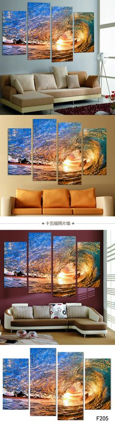 NO FRAME CANVAS ONLY 4 pieces Sunset on the beach with screw ocean wave wall painting printed on canvas home decor Free Shipping