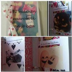 Boekje: 52 redenen waarom ik van je hou. Gemaakt van speelkaarten.