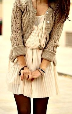 Cute dress outfit, nice texture combination.  Not sure if would work without the pose in this pic though