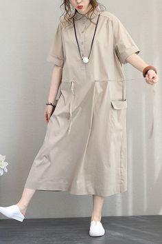 Women Summer Design Cotton Dresses Loose Pure Color Clothes Q1201