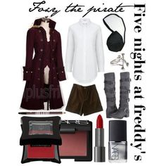 ωσмєи'ѕ fαѕнισи  Foxy Casual Outfit (FNAF). White button-up shirt, brown shirts, gray knee-length boots and red (maroon) costs accessories are a black eyepatch and silver bracelet