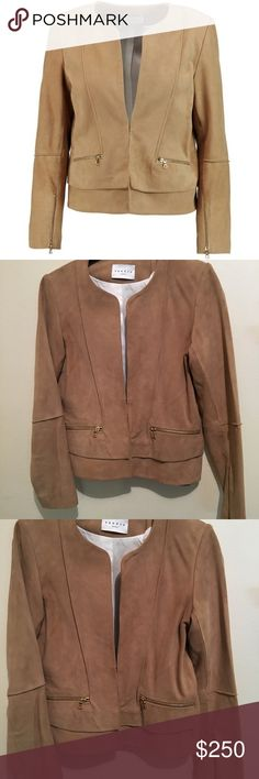 Sandro suede collarless jacket Light cognac suede w/ gold zippers. Like new condition. W/ tags. Fits a small Jackets & Coats