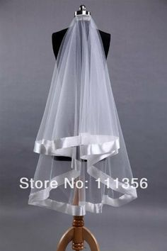 2 Layer With Comb Satin Edge White Wedding Accessories Veils Bridal Veil $12.99