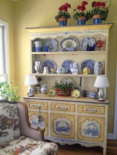 French Country blue and yellow...not normally a fan of blue, but this all works.