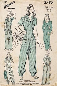 WWII jumpsuits this is what women wore while working in factory's and other areas, while our proud men were in the Military