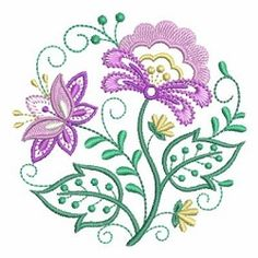 Jacobean Floral Circle 2 - 4x4 | What's New | Machine Embroidery Designs | SWAKembroidery.com Ace Points Embroidery