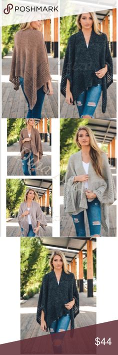 Preorder New Boho Comfy Chic Draped Knit Poncho Preorder New Boho Comfy Chic Draped Knit Poncho  - 100% Acrylic- One Size Fits Most-           ➿Charcoal Grey dina aziza Sweaters Shrugs & Ponchos