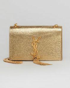 V1SAE Saint Laurent Cassandre Small Tassel Crossbody Bag, Gold