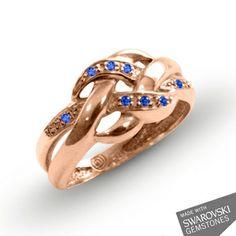 Rose gold ring with blue sapphire Swarovski pastel
