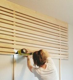 How to Make an Accent Wall Headboard DIYThanks craftedbythehunts for this post.This slat accent wall headboard is super affordable and an easy DIY project done in just a few hours. Instructions: Find the studs you're going to attach the# accent Wood Slat Wall, Wood Slats, Wood Screws, Wood Slat Ceiling, Ceiling Wood Design, Accent Wall Bedroom, Bedroom Ceiling, Master Bedroom, Diy Bedroom