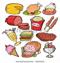 set of junk food doodle - stock vector