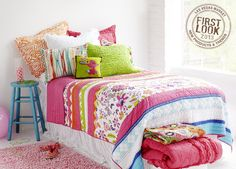 Girl power = Carrie print patchwork from Amity Home coordinates with brightly colored Lauren pillows. Amity Home, Safe Room, Fabulous Fabrics, Beautiful Bedrooms, Bedding Collections, Bed Covers, Home Textile, Good Night Sleep, Master Bedroom
