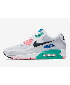 the latest fee2a f0a5e Nike Air Max 90 Womens White Pink Green Blue Black Colorway Trainers Cheap  Sale
