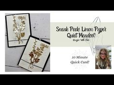 WHAT? Linen Paper??! Quick Intro On This FUN NEW Paper: Stampin' Up! - YouTube Thank You Gifts, Thank You Cards, Enjoy Your Weekend, Meadow Flowers, Quick Cards, Card Kit, Fun Projects, Free Gifts, Stampin Up