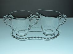 Imperial Glass Candlewick - Creamer Pitcher and Sugar Bowl on Tray - Vintage
