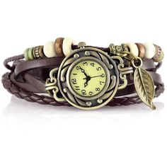 Vintage Leather Braided Wrist Watch Bracelet with Beads Brown Strap... ($5.99) ❤ liked on Polyvore featuring jewelry, bracelets, chunk jewelry, chunky bangles, beading charms, braid jewelry and chunky jewelry