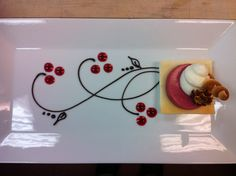 napoleon plated dessert Chocolate Sauce and Raspberry Coulis