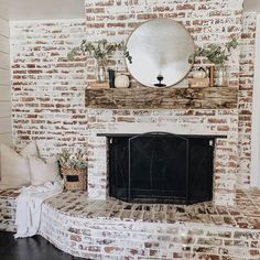 .This is the first brick fireplace that inspires me for ours