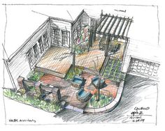 Conceptual designs; a sitting area patio/terrace with pergola. By Howard Roberts