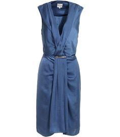 Reiss- sleeveless drop waist drape dress in Steel Blue